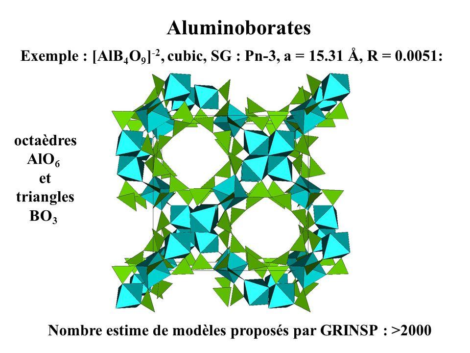 Aluminoborates Exemple : [AlB4O9]-2, cubic, SG : Pn-3, a = 15.31 Å, R = 0.0051: octaèdres AlO6 et triangles BO3.